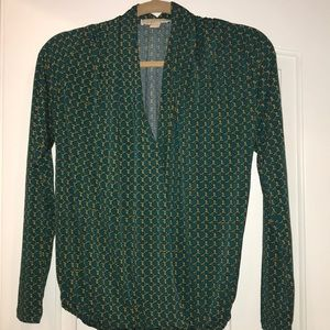 Michael michael kors green and gold blouse size xs